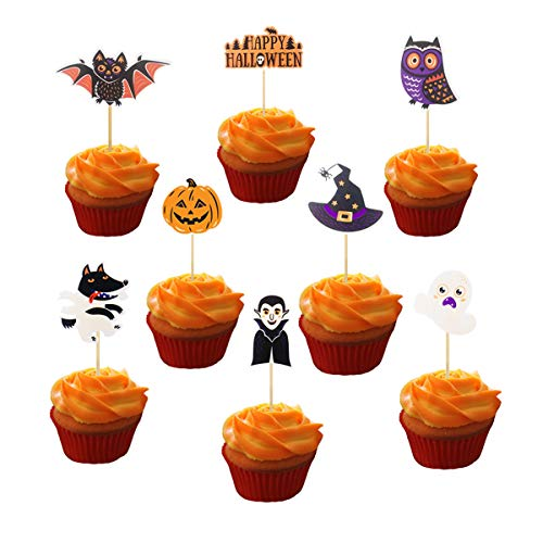 JANOU Halloween Cupcake Toppers Funny Pumpkin Wolf Owl Ghost Cake Decoration for Happy Halloween Party Suppliers Pack -