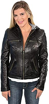 X-Small Milwaukee Leather SFL21810 Ladies Black Hooded Scuba Leather Jacket With Draw String
