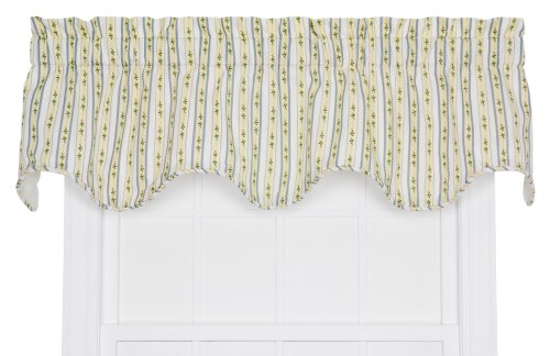 - Ellis Curtain Cynthia Floral Stripe Print Lined Scallop Window Treatment Valance, 70 by 16-Inch, Blue