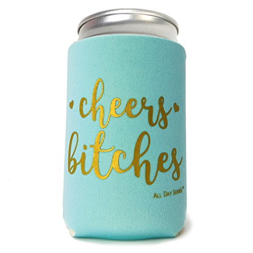 Cheers Bitches 11 Pack Bachelorette Party Favor Can Coolers Plus Bonus Photo Game | 10 Mint Green, 1 White Bride, Gold Ink | Decorations, Supplies, Gifts