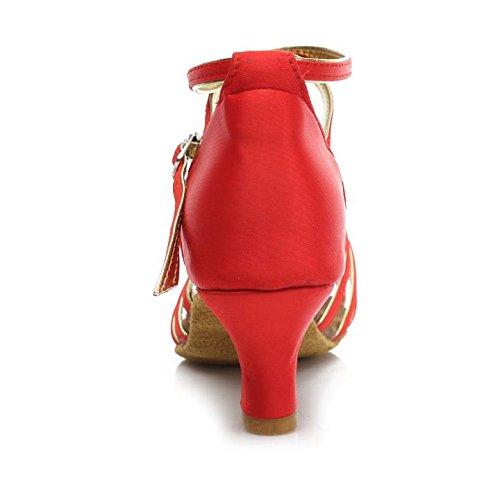 HROYL Zapatos de baile/Zapatos latinos de satén mujeres ES7-F17 5CM Rojo