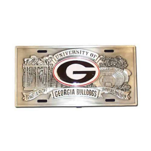 NCAA Enterprises Georgia Bulldogs Heavy-Duty Color Pewter License Plate