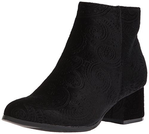 Vel Black Velvet Qupid Women''s Ankle Bootie Embossed Boot X01x6xqO