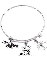 Military Mom/Wife Bracelet Army bracelet Air Force Bracelet Adjustable Bangle Women Jewelry