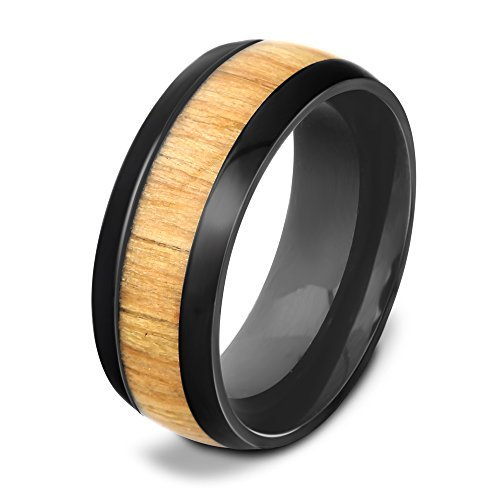 - Genuine Mahogany wood inlay stainless steel ring wooding ring wooden wedding rings for Men (11)