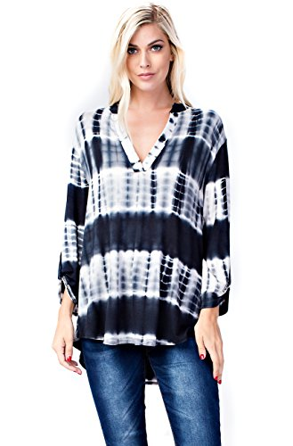 Notch Neck Top (Allora Betsy Red Couture Women's Plus Size Notch Neck Tunic Top (1X, Black Tie Dye))
