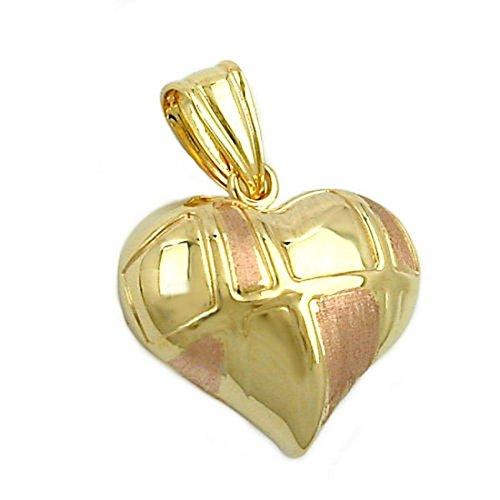 Pendentif en or bicolore 375 de coeur 9Kt
