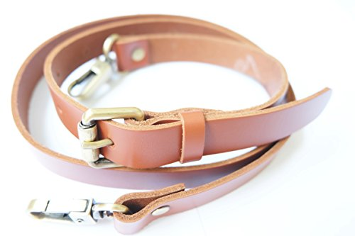 Somjai S290 Genuine Leather Shoulder Strap Bag Tan Color Width 2 cm. Length 118 cm.