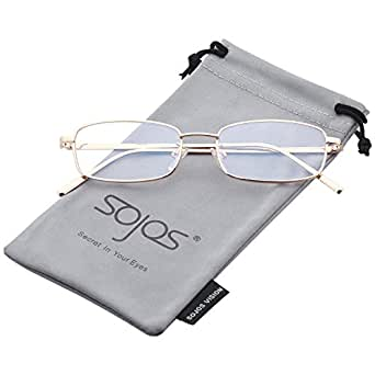 SOJOS Trendy Small Rectangular Mens Womens Sunglasses Metal Rim SJ1077 with Gold Frame/Clear Lens
