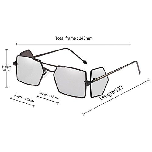 pour soleil de hommes lunettes quatre Noir d'objectif soleil rectangle Blanc Retro lunettes femmes Vintage de Inlefen verres FWAqAC
