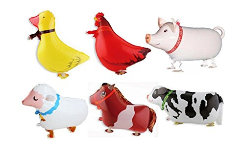 Borang 11 Pack of 6 Walking Farm Animal Balloon Birthday Bbq Party Décor(Pony,Duck,Rooster,Cow,Pig,Sheep)]()