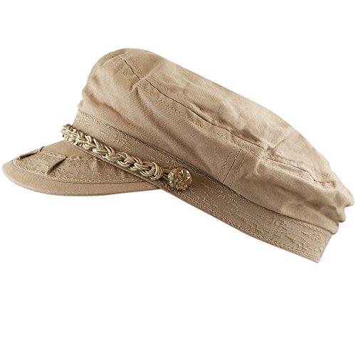 The Hat Depot Cotton Yachting Style Sailing Greek Fisherman Cap hat (L/XL, Khaki)