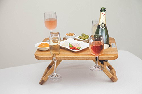 Portable Picnic, Camping, and Wine Table - Small, Stylish Folding Tables For Outdoors, Picnics, Romantic Dinners, Bedside - Beautiful, Mango Wood Serving Tray with Legs - Food and Champagne (Food Champagne)