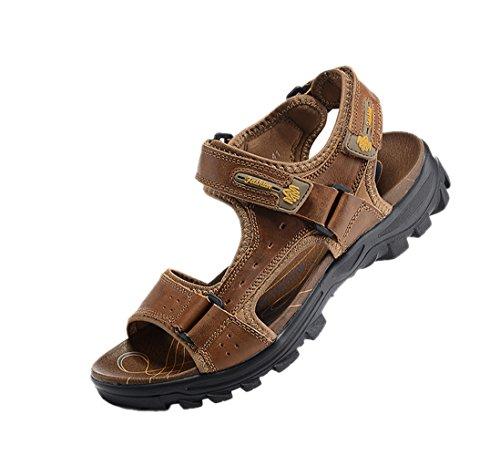 SK Studio Men's Casual and Outdoor Adjustable Velcro Strap Summer Gladiator Sandals Light Brown W6ICRST