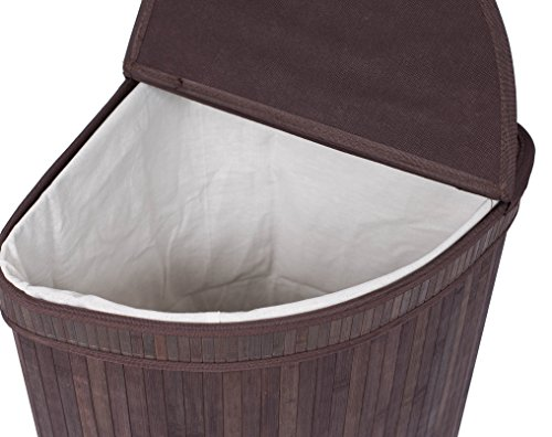 Birdrock Home Corner Laundry Hamper With Lid And Cloth Liner Bamboo New Ebay