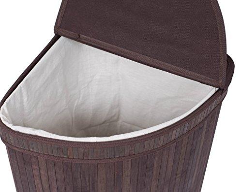 Birdrock home corner laundry hamper with lid and cloth liner bamboo new ebay - Corner hamper with lid ...