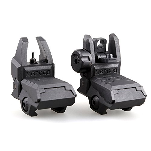 (MGPCQB Tactical Foldable Front & Rear Sight, Low Profile High Strength Polymer Flip Up Sights, Backup Sight for Picatinny Rail)