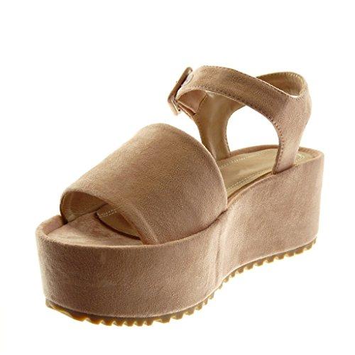 Lanière Plateforme Lanière Boucle Rose Compensé Sandale Mule Chaussure 5 Mode 5 Talon Angkorly Plateforme Femme Cheville cm z78qfwxI