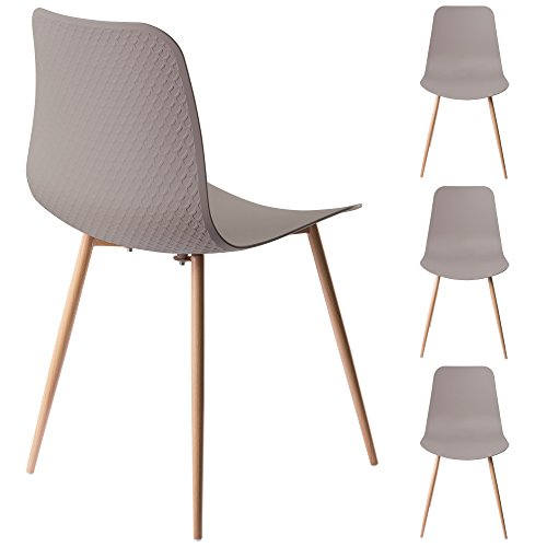 Viola Set of 4 Stone Dining Chairs - Mid Century Modern Style Armless Side Chairs Molded Easy Clean Plastic Shell with Wood Tone Legs by Linea di Liara LL-CH1658-STONE