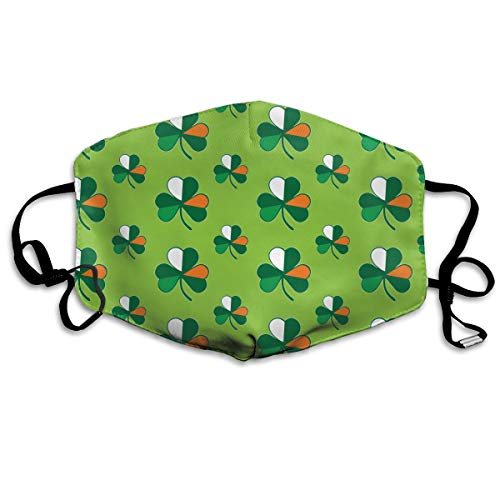 Comfort Earloop Mouth Masks, Dustproof Anti Flu Pollenm Smog Mouth-Muffle with Adjustable Elastic Band - Windproof Cotton Irish Flag Shamrocks Half Face Mouth Mask ()