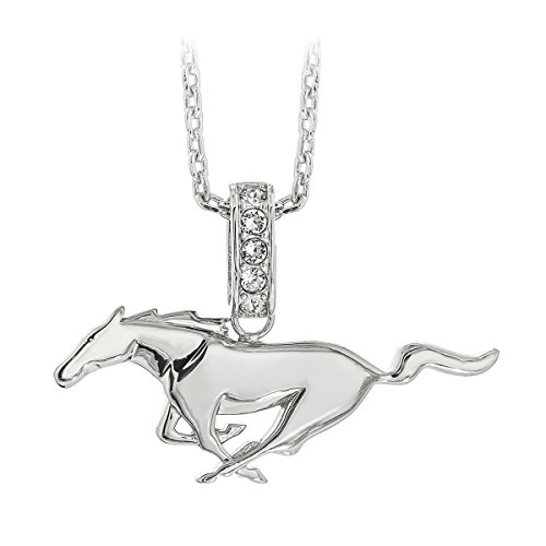 Beautiful Ford Mustang galloping Pony logo necklace embellished with Swarovski crystals. Rhodium plated solid Brass. 18