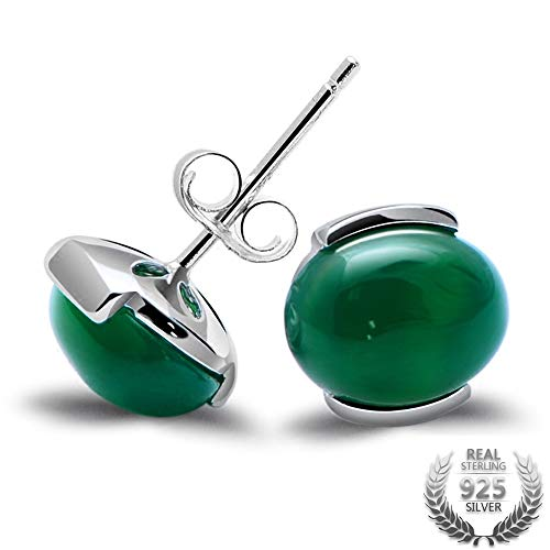 Natural Green Agate Earrings and Cat's Eye Solid 925 Sterling Silver Stud Earrings for Women's Vintage Jewelry-in Earrings from Jewelry & Accessories