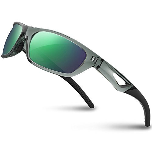 RIVBOS Polarized Sports Sunglasses Driving Sun Glasses Shades for Men Women Tr 90 Unbreakable Frame for Cycling Baseball Run Rb831 (Transparent Grey) from RIVBOS