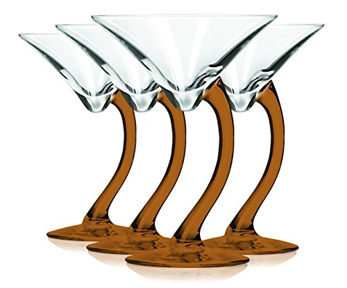 Libbey Orange Curved Stem Martini Glasses with Colored Accent - 6.75 oz. Set of 4- Additional Vibrant Colors Available by TableTop -