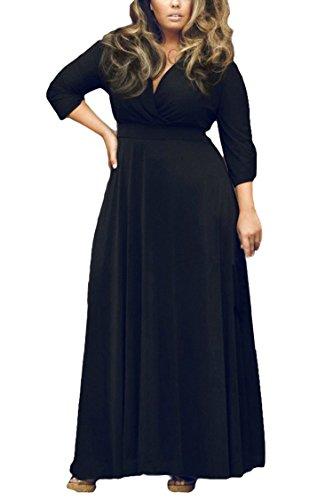 Women's Solid V-Neck 3/4 Sleeve Plus Size Evening Party Maxi Dress XXXL...