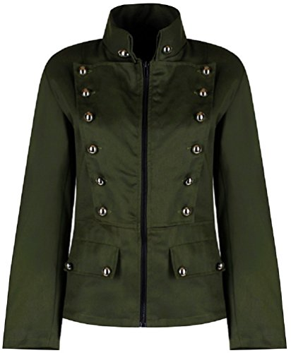 Womens Military Officer Punk Fitted Parade Jacket - Green (M) by Ro Rox