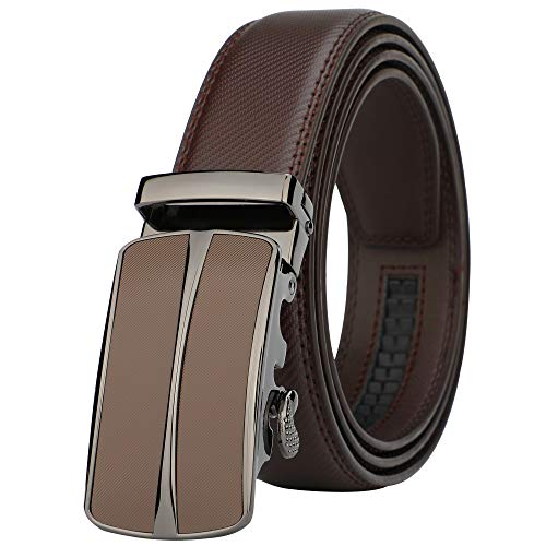 Lavemi Men's Real Leather Ratchet Dress Belt with Automatic Buckle,Elegant Gift Box(55-0093 Brown 52
