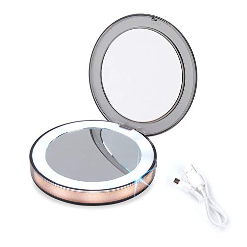 RISINGSUN LED Travel Lighted Makeup Mirror Foldable Compact Handheld Illuminated Folding Mirror Round Perfect For Handbag Pocket Home Beauty Needs With Bright Natural Lights 1X3X Magnification Gold