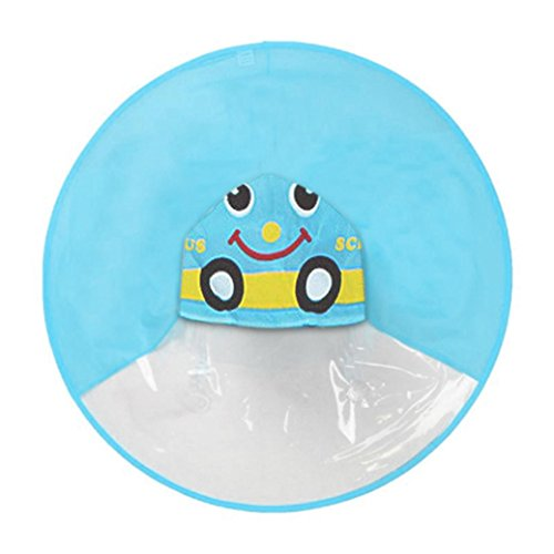 Tayaudy Toddler Raincoat Cute Rain Outwear UFO Children Umbrella Hat Magical Hands Free Rainwear (Blue Car)