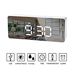 LEDGLE Electronic Alarm Clock Creative Desk Clock LED Table Lamp with Glass Display Screen, Snooze Function, Displays Time, Temperature and Calendar, Battery Powered, 2 Brightness Levels