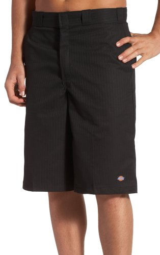 Dickies Mens 13 Inch Inseam Striped Work Short With Multi Use Pocket, Black, 44
