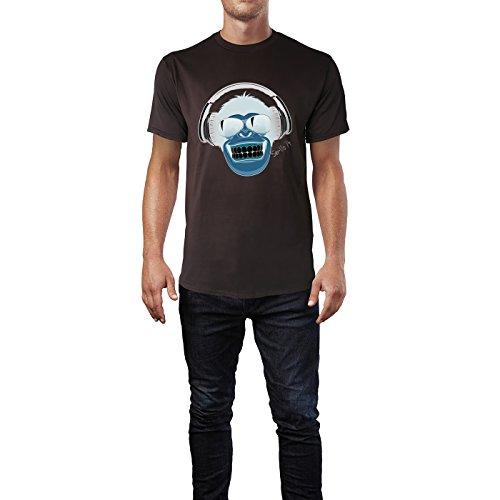 SINUS ART® Fröhlicher Affe mit Kopfhörer und Sonnenbrille Herren T-Shirts in Schokolade braun Fun Shirt mit tollen Aufdruck