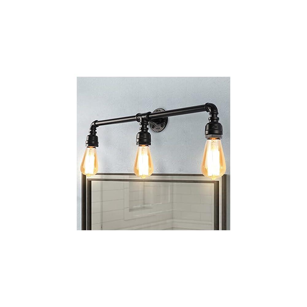 LMSOD 3 Lights Bathroom Vanity Light Fixture, Farmhouse Industrial Black Water Pipe Wall Light Fixture