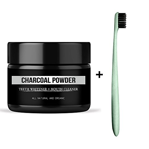 Price comparison product image Genkent Natural Teeth Whitening Charcoal Powder Organic Activated Teeth Whitener with 1 PC Wheat Straw Brush Oral Care Set