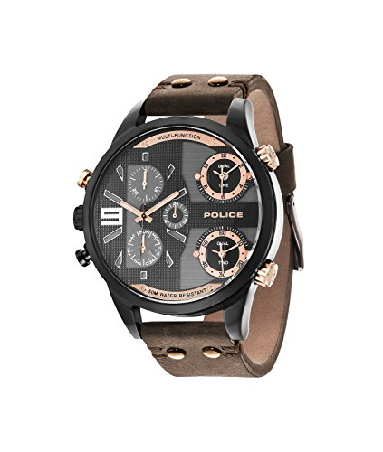 Police Men's Copperhead Two Time Zone Stainless Steel Quartz Watch with Brown Leather Strap 14374JSU/12