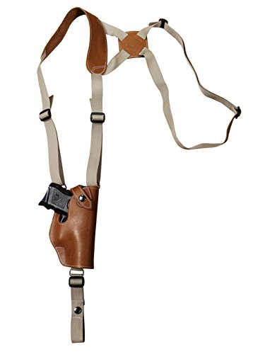 (Barsony New Saddle Tan Leather Vertical Shoulder Holster for HK USP Compact 40 45 Right)