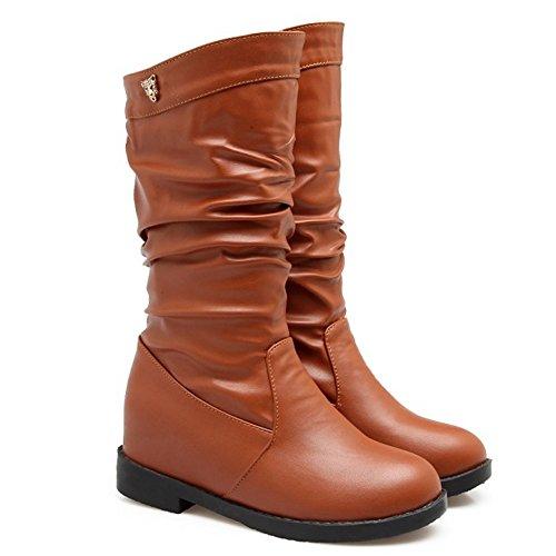 TAOFFEN Femmes Classique Automne Hiver Short Bottes Hidden Heel Mid High Slouch Bottes apricot TMDUfb