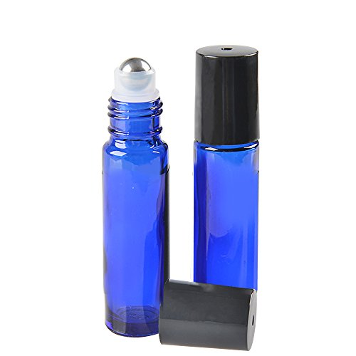 24 Pack,10 ml Blue Glass Roller Bottles with Removable Stainless Steel Roller Balls Perfect for Natural Essential Oils,Perfume and More Applications