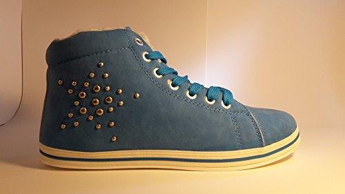 3-W-Hohenlimburg Gefütterte Halbhohe Sneakers Übergangsschuhe Stiefel mit Nieten. Beige, Schwarz oder Blau, Damenschuhe, SNE106, Schuh für Damen in sportlicher Optik. Schön Warm mit Fell. Blau