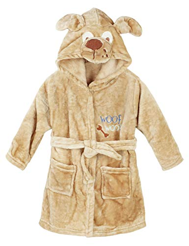 Hamour Kids Coral Fleece Bathrobe Toddlers Hooded Robes Pajamas Homewear,Doggy, 110cm for 4T