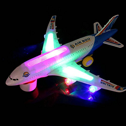 Baby Electric Airplane Toy With Beautiful Flashing Lights Loud Plane Sound Goes Around Changes Directions Contact Toys Bump