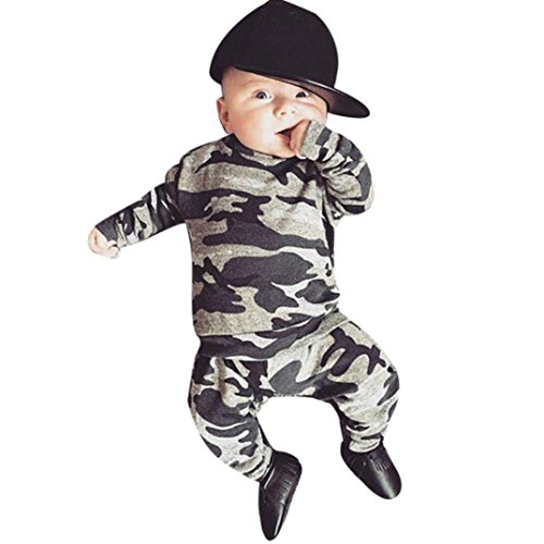 2 Pcs/Set Toraway Newborn Baby Boys Clothes Camouflage T-shirt Tops+Long Pants Outfits Set (9-12 Month, Gray)