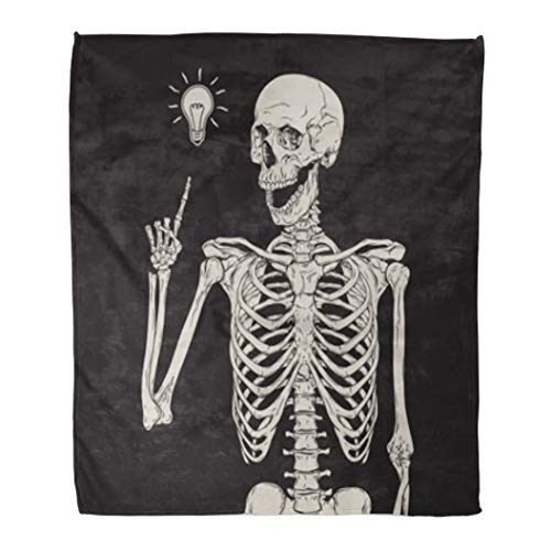 Golee Throw Blanket Halloween Human Skeleton Has Idea Over Vintage Drawing Etching Happy 60x80 Inches Warm Fuzzy Soft Blanket for Bed Sofa -
