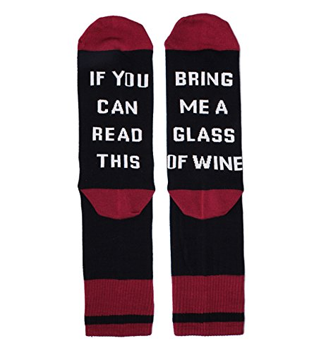 If You Can Read This Novelty Funny Saying Wine Crew Socks, Gag Gift for Men (Bring Me A Glass Of Wine Socks)