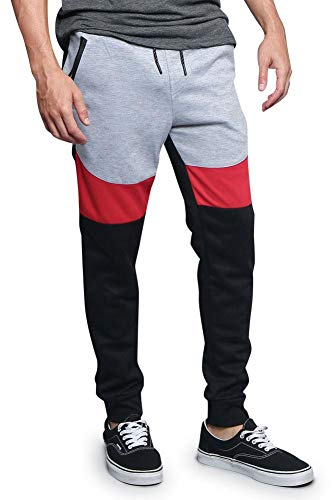 G Style USA Tri Color Blocked Sweatpants 18391-1568 - Red - X-Large - D1H