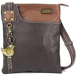 New Chala Crossbody SWING Bag Vegan Leather (Dog,Fox, Bird, Paw) Group (Dark Brown- Bird)